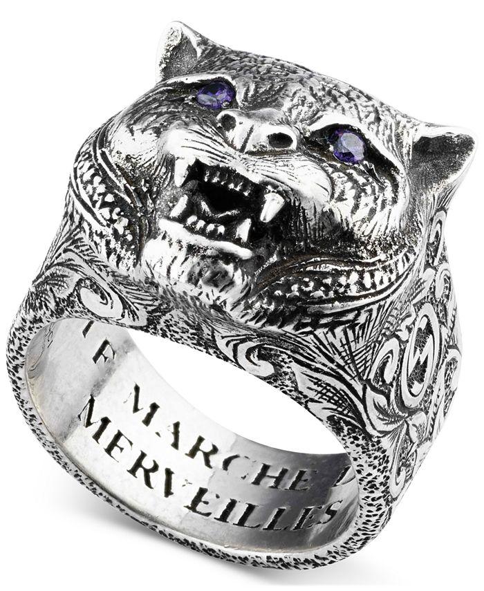 Gucci - Men's Crystal Eye Feline Head Ring in Sterling Silver YBC524585001018