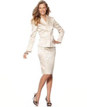 Le Suit Suit, Jewel Button Floral Jacquard Jacket & Pencil Skirt