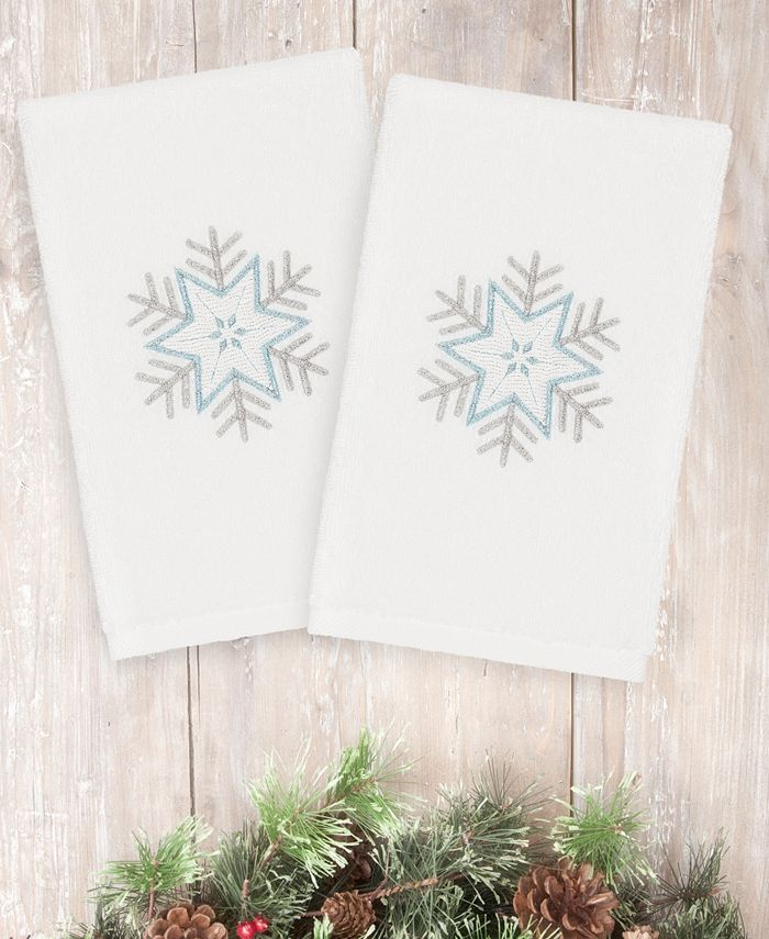 Linum Home - Textiles Christmas Crystal - Embroidered Luxury 100% Turkish Cotton Hand Towels Set of 2