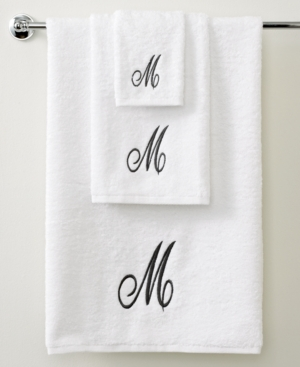 "avanti bath towels, initial script white and silver 27"" x 52"" bath towel"