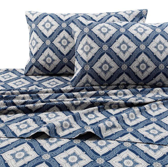 Tribeca Living Flannel 200-Gsm Damask Printed Extra Deep Pocket Twin Sheet Set