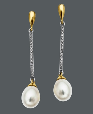 14k Gold and 14k White Gold Earrings, Cultured Freshwater Pearl and Diamond (1/10 ct. t.w.) Drop Earrings