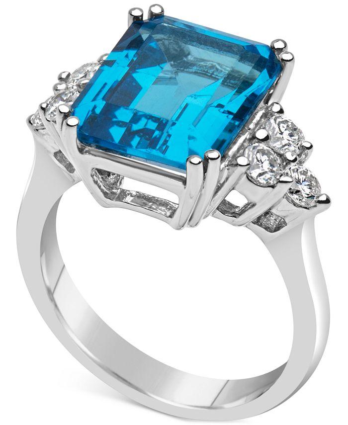 Macy's - Blue Topaz (8 ct. t.w.) & Diamond (1/2 ct. t.w.) Ring Set in 14k White Gold