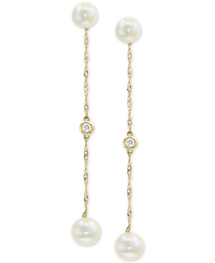 EFFY Collection - Cultured Freshwater Pearl (5 & 6mm) & Diamond Accent Drop Earrings in 14k Gold