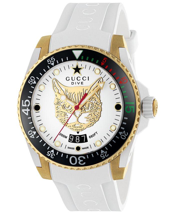 Gucci - Unisex Swiss Dive White Rubber Strap Watch 40mm