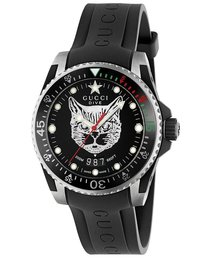 Gucci - Men's Swiss Dive Black Rubber Strap Watch 40mm