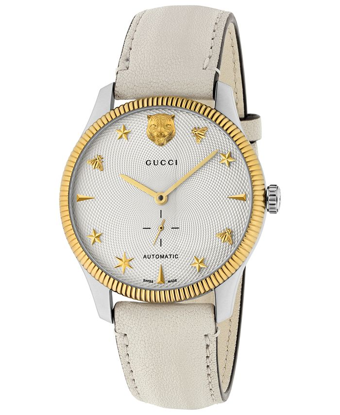 Gucci - Unisex Swiss Automatic G-Timeless White Leather Strap Watch 40mm