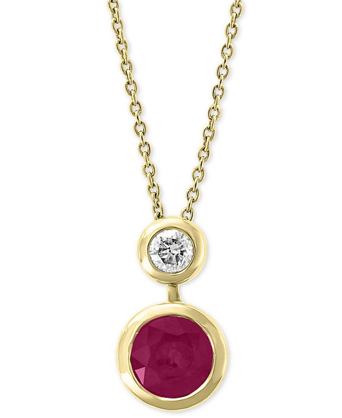 "EFFY Collection - Certified Ruby (1 ct. t.w.) & Diamond (1/8 ct. t.w.) 18"" Pendant Necklace in 14k Gold"