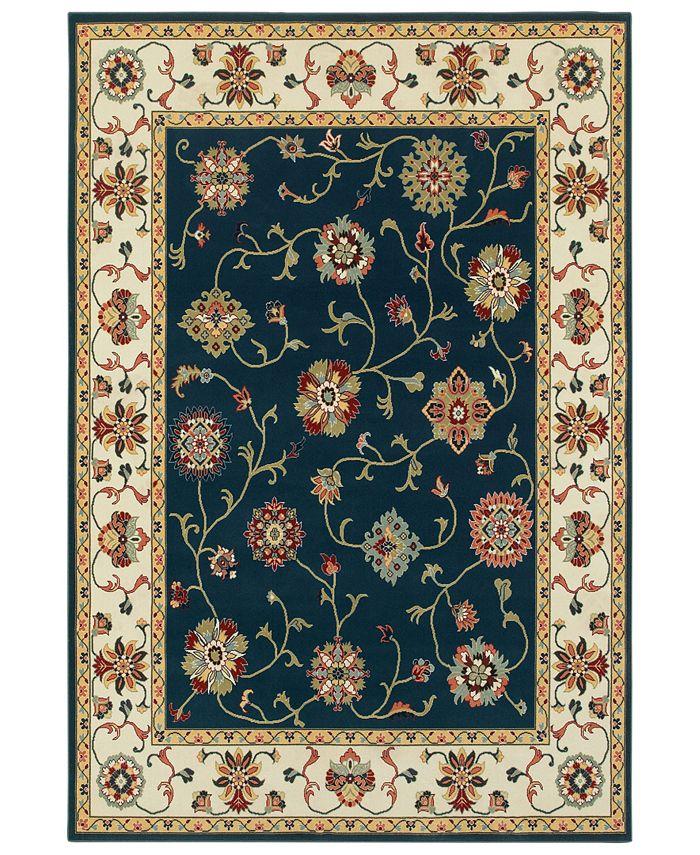 """Oriental Weavers - Kashan 2336B Navy/Ivory 3'10"""" x 5'5"""" Area Rug"""