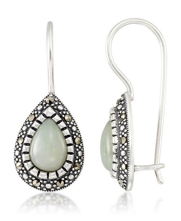 Macy's Jade (9 x 6 x 5.2mm) & Marcasite Teardrop Earrings in Sterling Silver