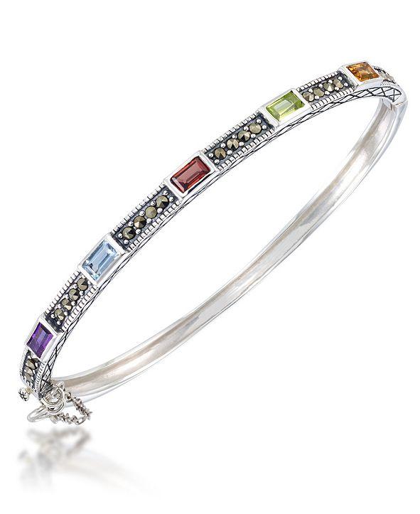 Macy's Multi-Color Stones &  Marcasite Bangle in Sterling Silver