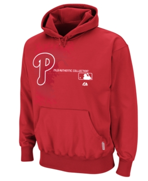 Majestic MLB Sweatshirt, Philadelphia Phillies Therma Base Tech Hoodie