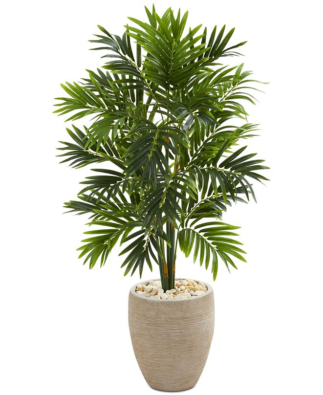 Nearly Natural 4' Areca Artificial Palm Tree in Sand-Colored Planter