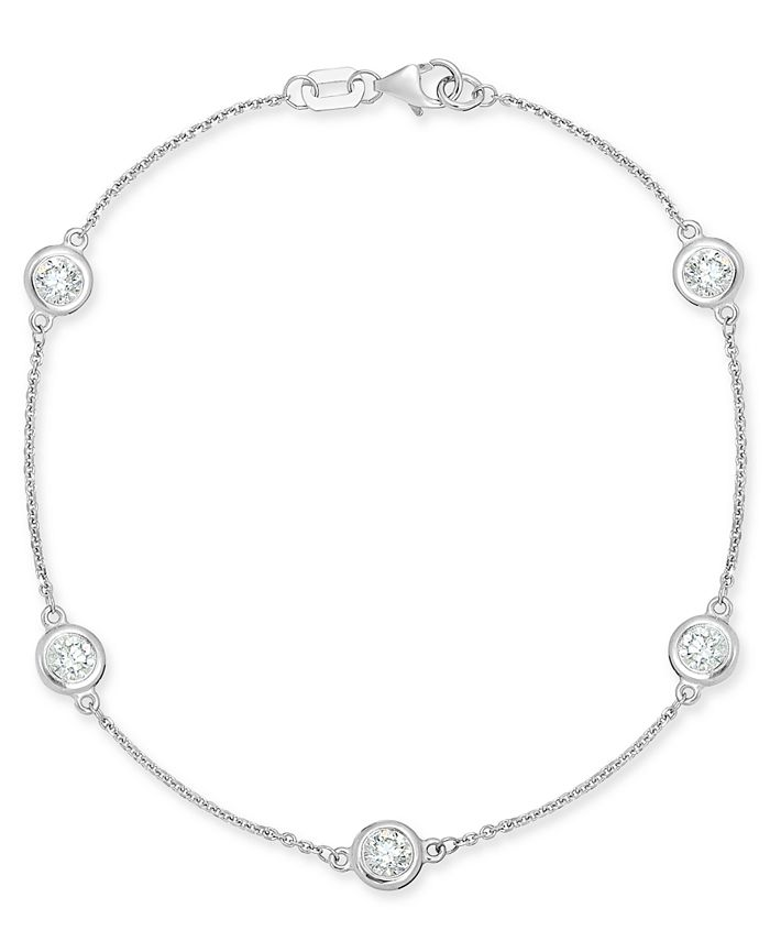 Macy's - Diamond Bezel Link Bracelet (1 ct. t.w.) in 14k White Gold