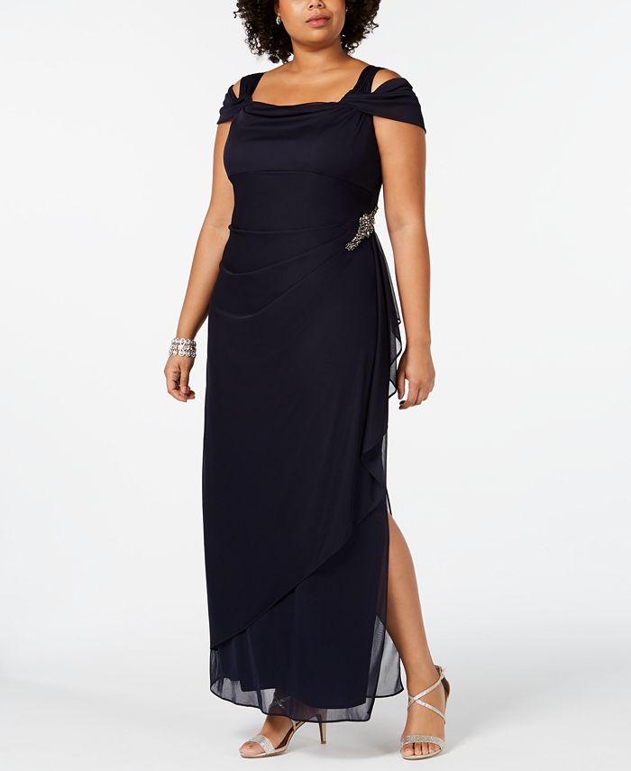 Alex Evenings - Plus Size Embellished Cold-Shoulder Gown