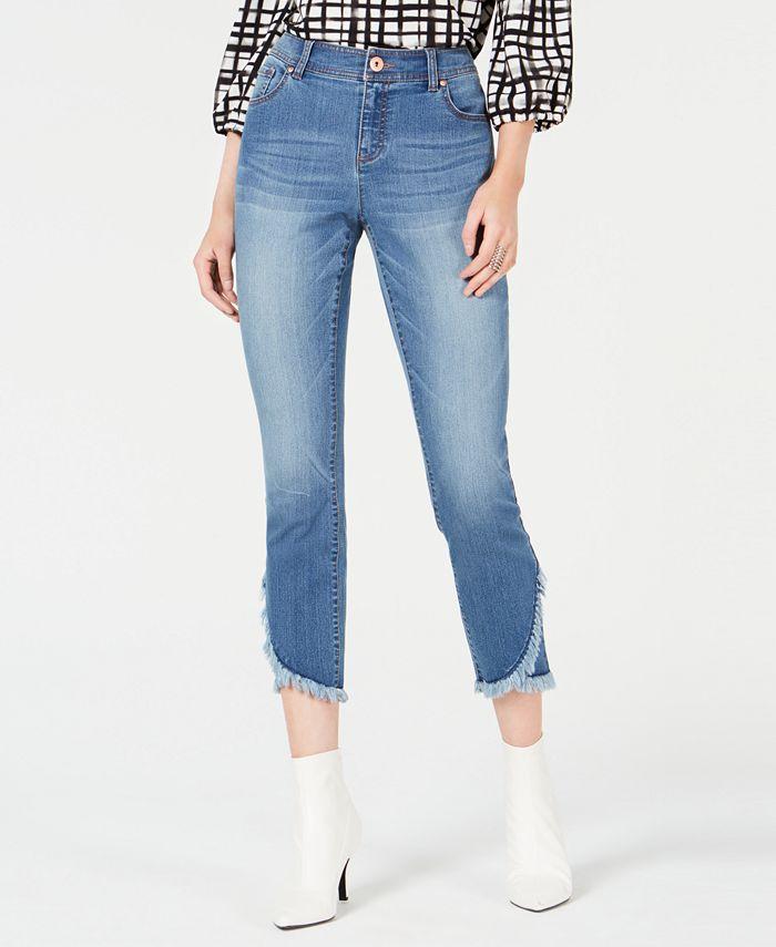 INC International Concepts - Cropped Tulip-Hem Skinny Jeans