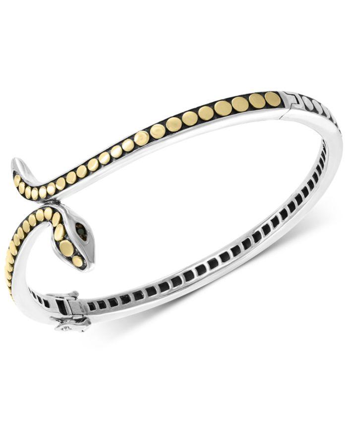 EFFY Collection EFFY® Diamond Two-Tone Snake Bangle Bracelet in Sterling Silver & 18k Gold-Plate & Reviews - Bracelets - Jewelry & Watches - Macy's