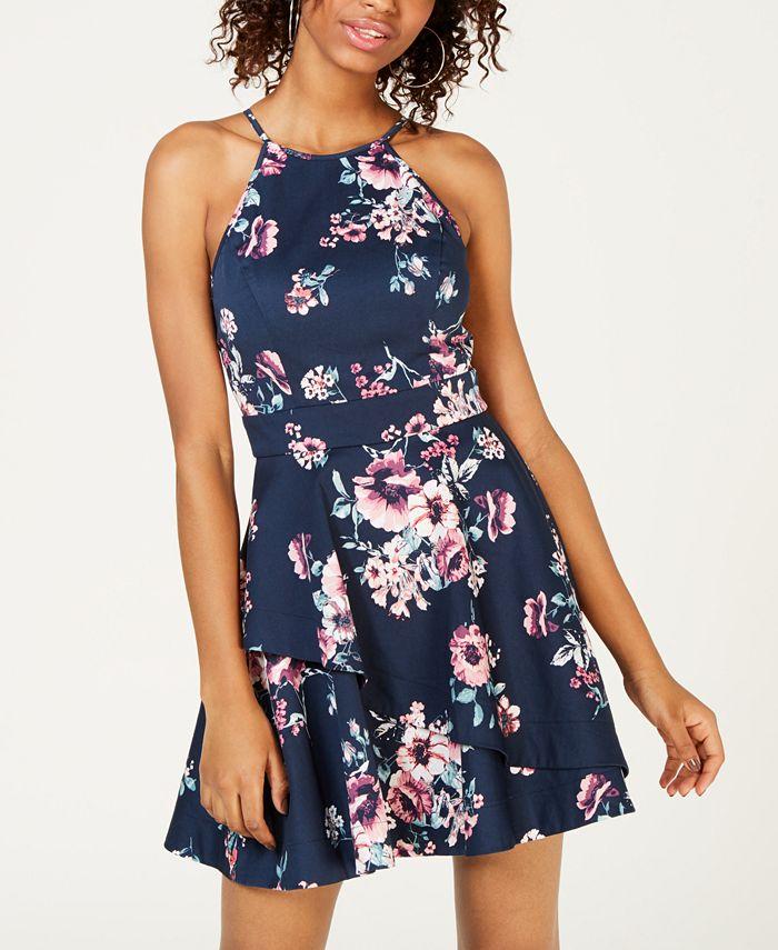 Speechless - Juniors' Printed Crisscross Fit & Flare Dress