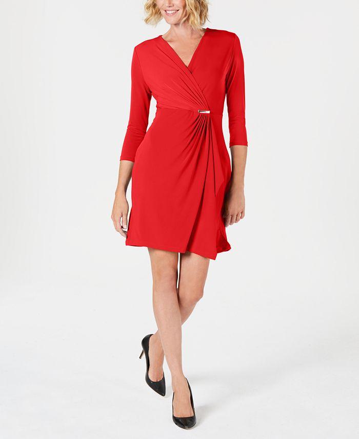 Charter Club - Petite Faux-Wrap Dress