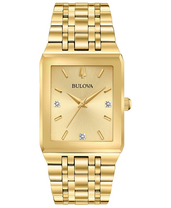 Bulova - Men's Futuro Diamond-Accent Gold-Tone Stainless Steel Bracelet Watch 30x45mm