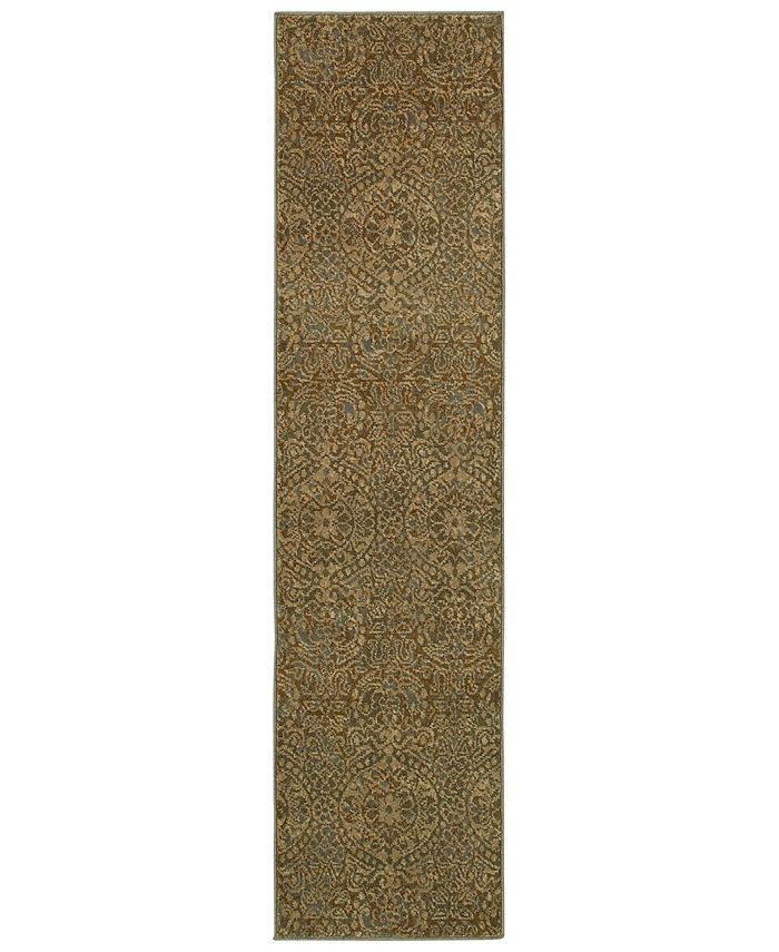 "Oriental Weavers - Casablanca 4441C Beige/Blue 1'10"" x 7'6"" Runner Area Rug"