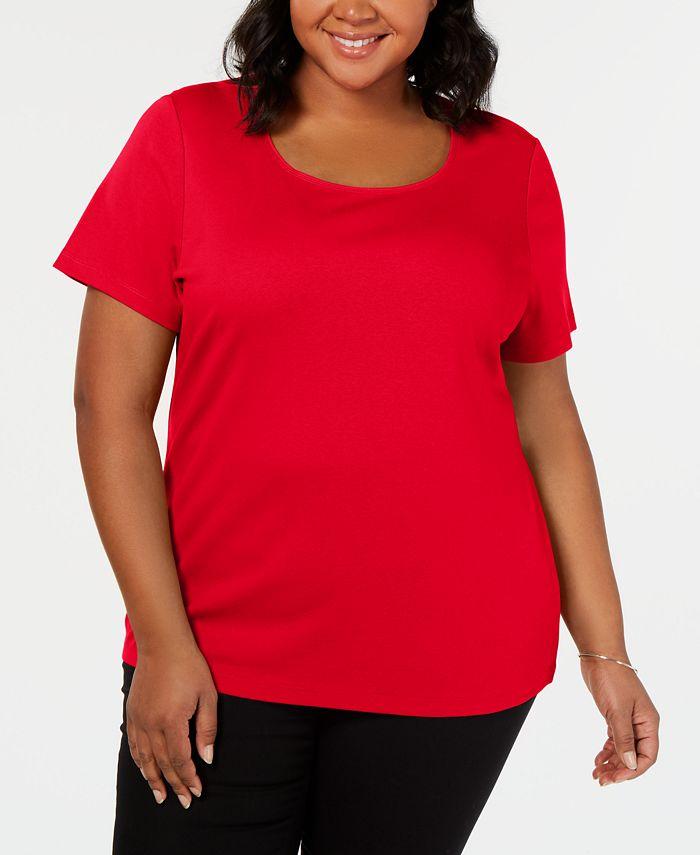 Karen Scott - Plus Size Cotton Scoop-Neck Top