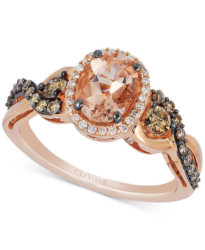 Le Vian - Peach Morganite (7/8 ct. t.w.), Chocolate Diamond (3/8 ct. t.w) and Vanilla Diamond (1/10 ct. t.w.) Ring in 14k Rose Gold