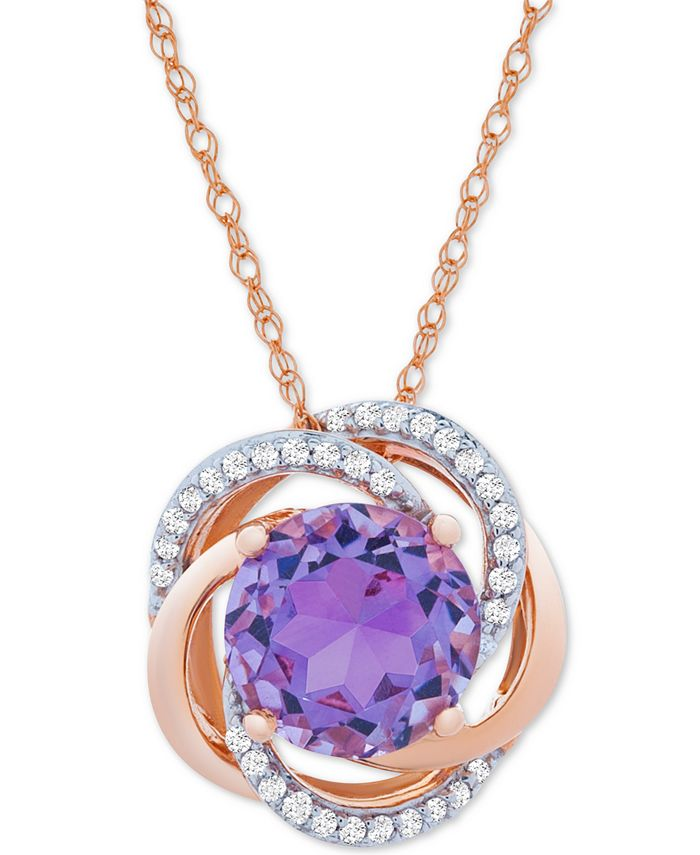 Macy's - Amethyst (1-7/8 ct. t.w.) & Diamond (1/10 ct. t.w.) Pendant in 14k Rose Gold