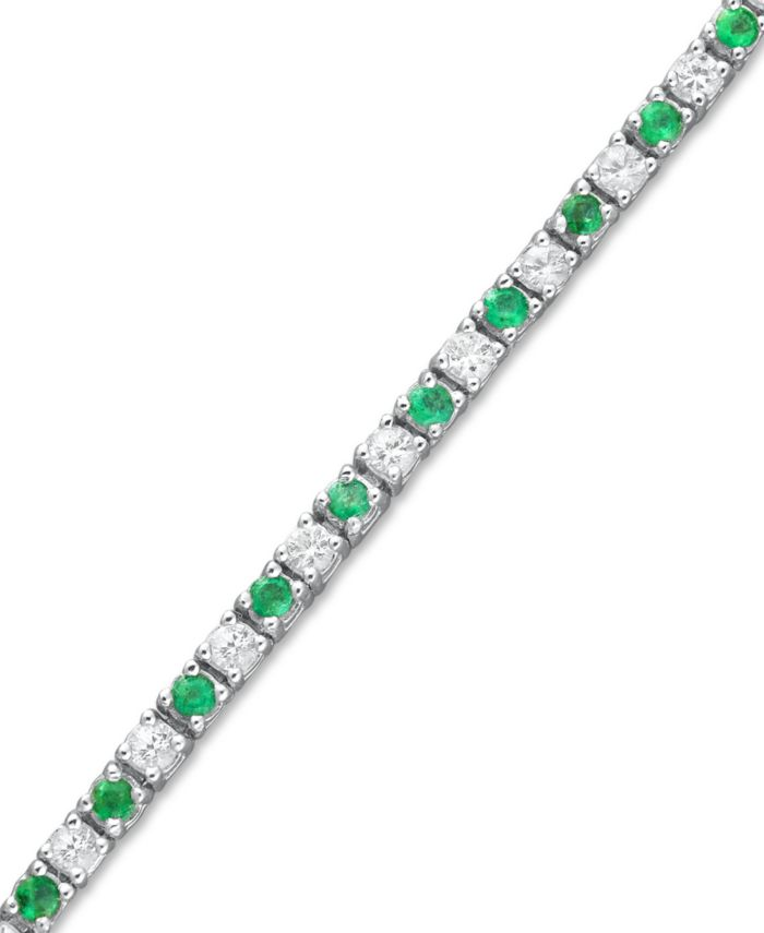 Macy's Sapphire (2-1/2 ct. t.w.) and White Sapphire (2-3/4 ct. t.w.) Bracelet in Sterling Silver (Also Available in Emerald) & Reviews - Bracelets - Jewelry & Watches - Macy's