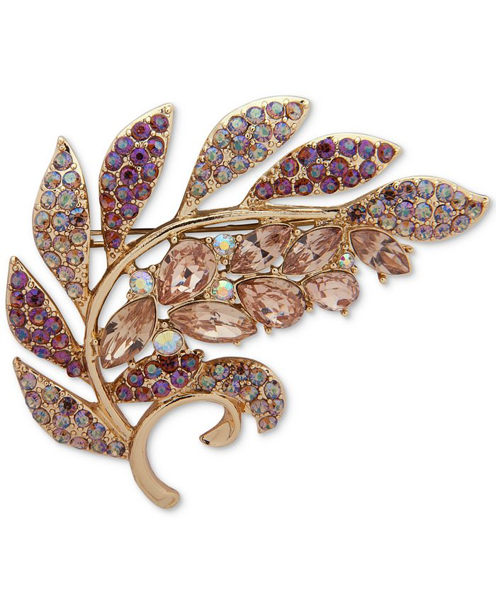 Anne Klein - Gold-Tone Stone & Crystal Leaf Pin