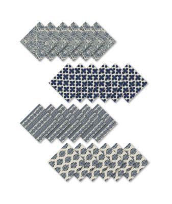 Assorted Blue Print Cotton Napkins, Set of 24