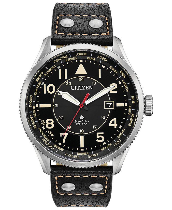 Citizen - Men's Promaster Nighthawk Black Leather Strap Watch 44mm