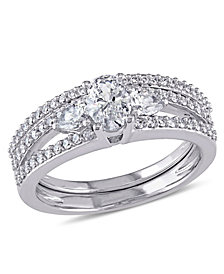 Certified Diamond (1-1/10 ct. t.w.) Oval-Shape 3-Stone Bridal Set in 14k White Gold