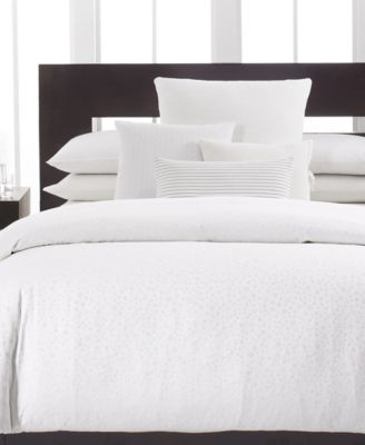 CLOSEOUT! Calvin Klein Home Studio White Cotton Percale King Fitted Sheet