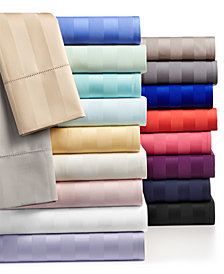 """Charter Club Damask 1.5"""" Stripe Extra Deep Pocket Queen 4-Pc Sheet Set, 550 Thread Count 100% Supima Cotton, Created for Macy's"""