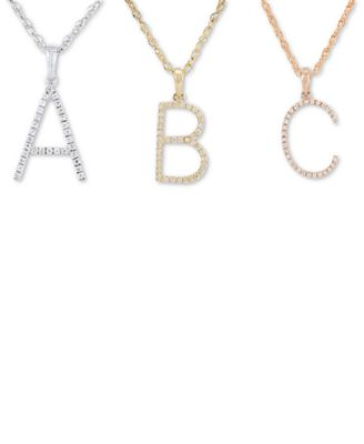 Diamond (1/10 ct. t.w.) Initial Pendant Necklace in 10k Gold, 16