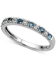 Blue Topaz (1/4 ct. t.w.) and Diamond (1/5 ct. t.w.) Ring in 14k White Gold
