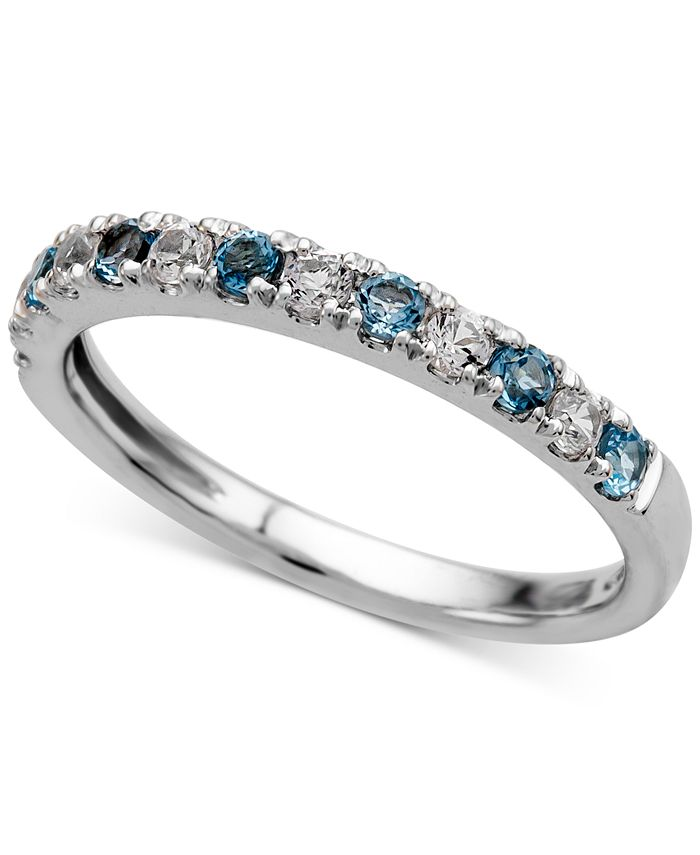Macy's - Blue Topaz (1/4 ct. t.w.) and Diamond (1/5 ct. t.w.) Ring in 14k White Gold
