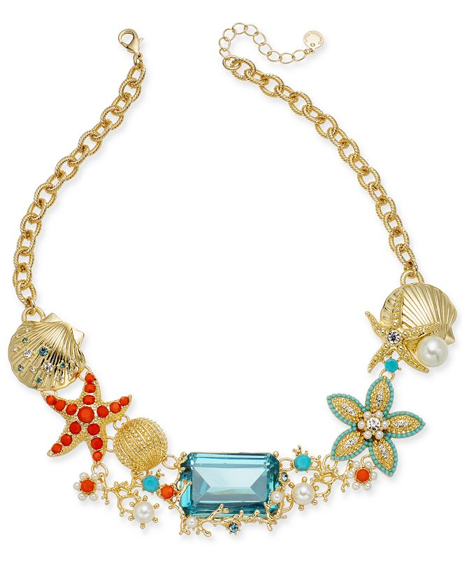 "Charter Club Crystal & Imitation Pearl Starfish Necklace, 18"" + 2"" extender, Created for Macy's"