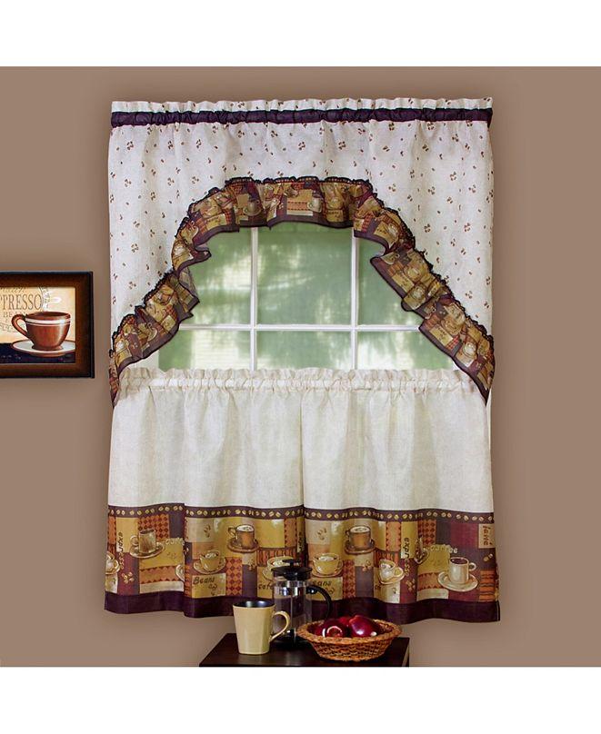 Achim Coffee Printed Tier and Swag Window Curtain Set, 57x24