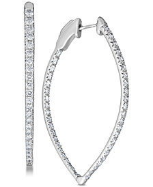 Diamond (3 ct. t.w.) Pavé Hoop Earrings in 14k White Gold