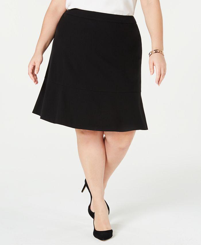 Bar III - Plus Size Ruffle-Hem Skirt