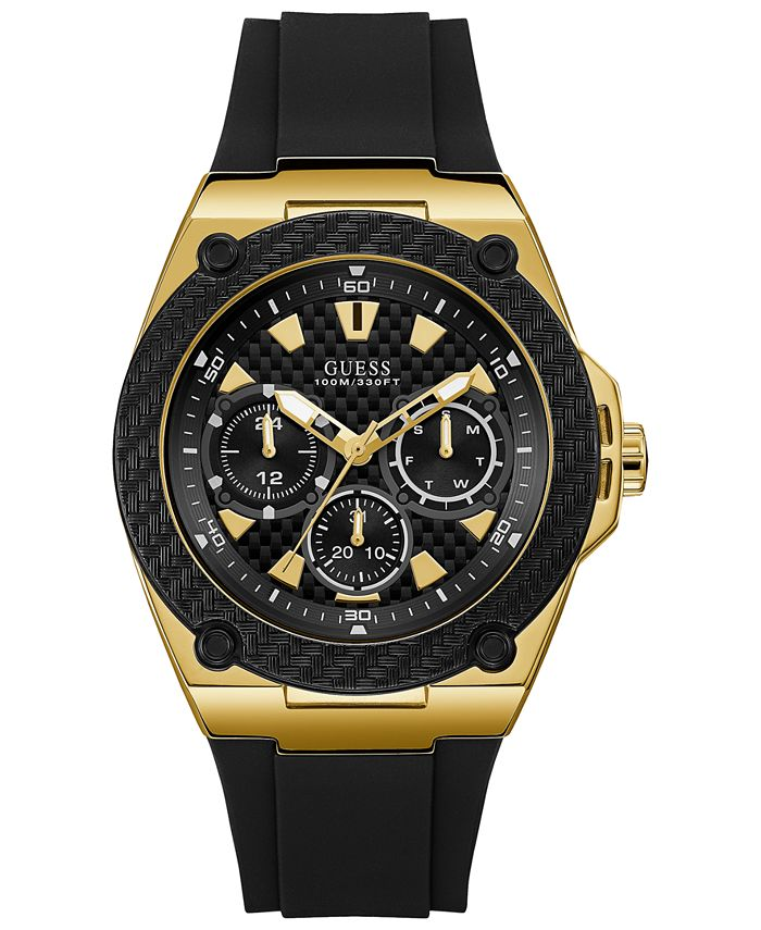 GUESS - Men's Black Silicone Strap Watch 45mm
