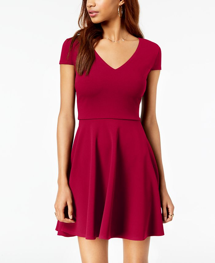 B Darlin - Juniors' Bow-Back Fit & Flare Dress