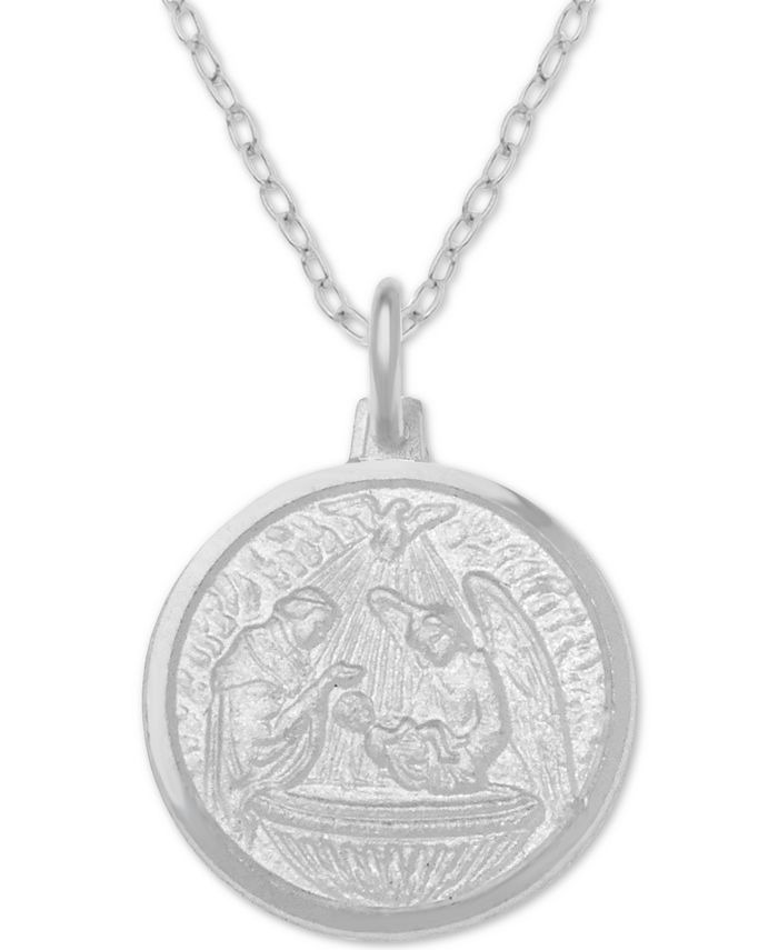 "Giani Bernini - Baptism Medallion 18"" Pendant Necklace in Sterling Silver"