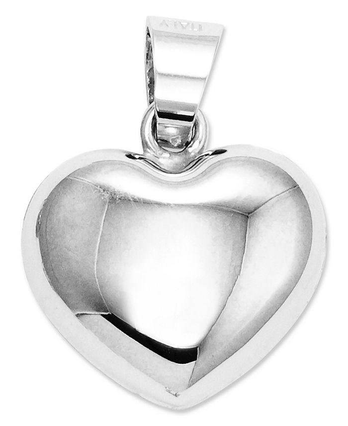 Macy's - 14k White Gold Charm, Puffed Heart Charm