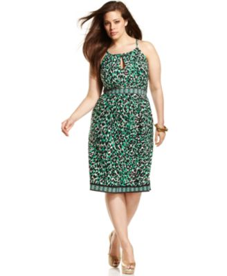 INC International Concepts Plus Size Dress Halter Leopard-Printed