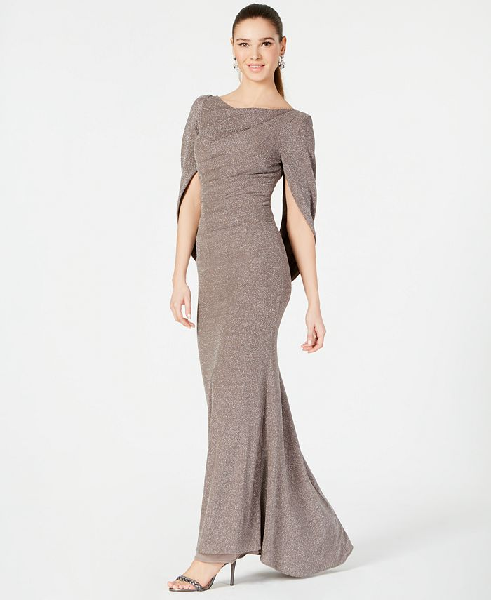 Betsy & Adam - Metallic-Knit Draped Gown