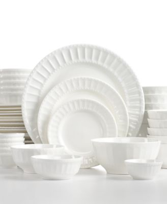White Elements Dinnerware, Paloma Embossed 42 Piece Set