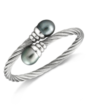 Stainless Steel Tahitian Cultured Freshwater Pearl Wrap Bangle